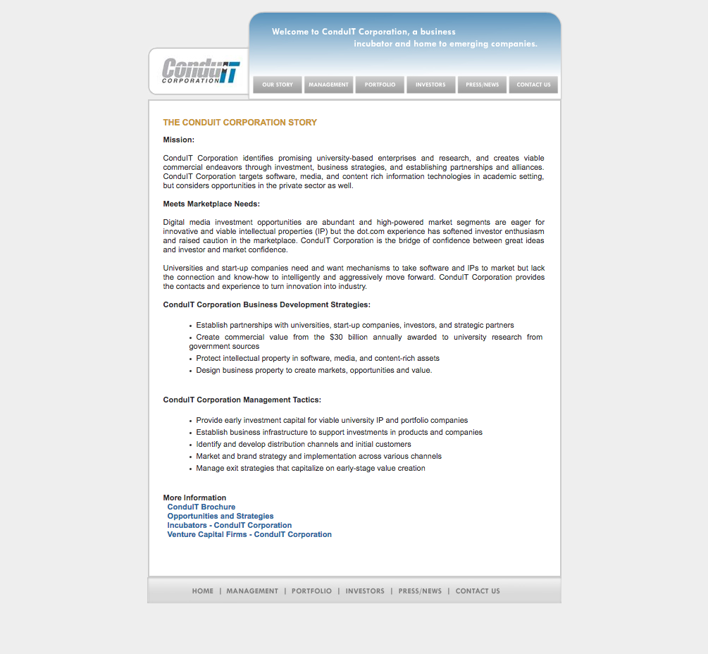 Conduit Corporation Website Home Page Before Re-Design