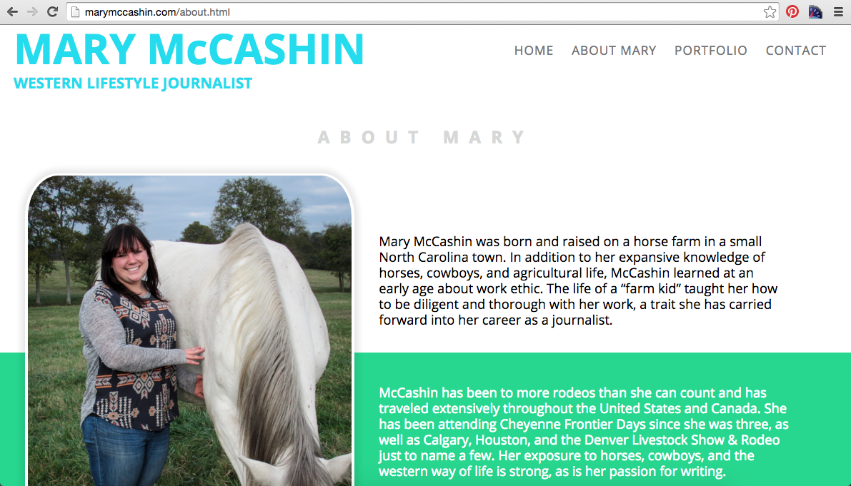 Mary McCashin New Website About/Bio Page