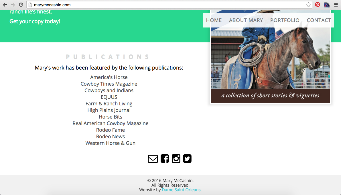 Mary McCashin New Website Homepage Publications Section