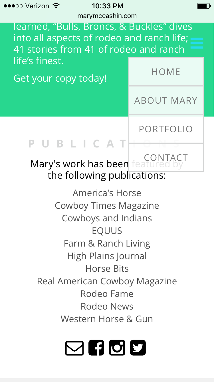 Mary McCashin New Website Mobile Drop Down Menu