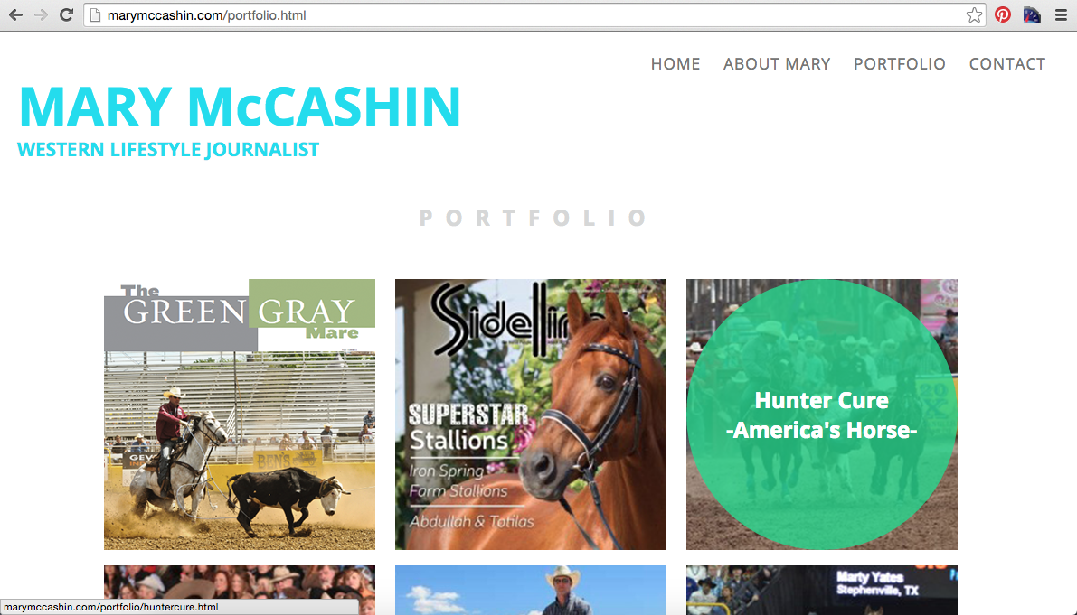 Mary McCashin New Website Portfolio Page with Hover Enacted Example