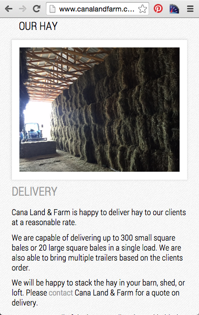 Cana Land and Farm Website Hay Page Mobile View After Re-Design