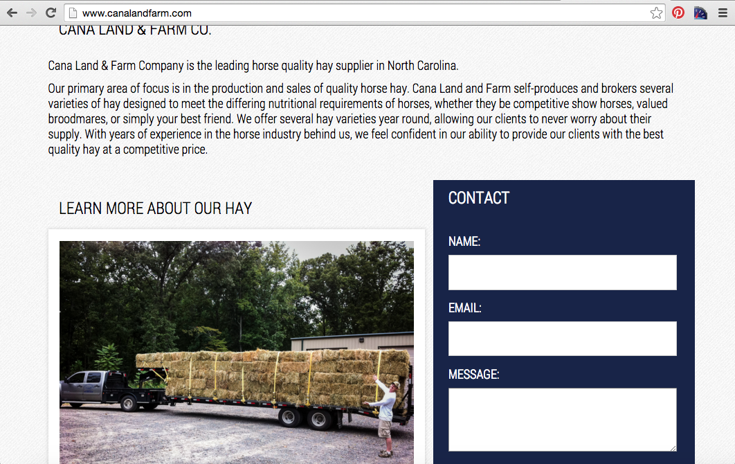 Cana Land and Farm Website Home Page After Re-Design