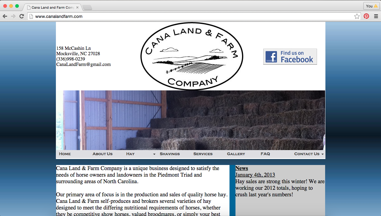 Cana Land and Farm Website Home Page Before Re-Design